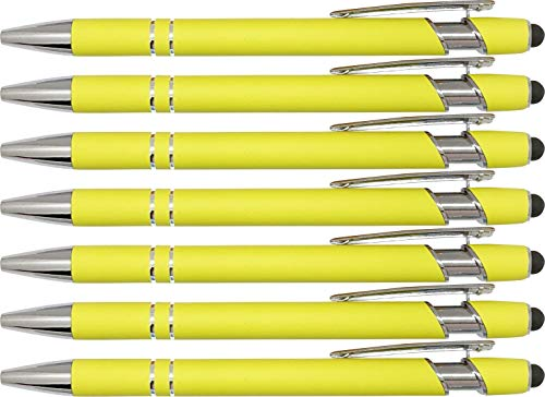 Pastel Rubberized Soft Touch | Pastel Colors | Ballpoint Pen with Stylus Tip a stylish, premium metal pen, black ink, medium point (Pastel Yellow, 7 Pack)
