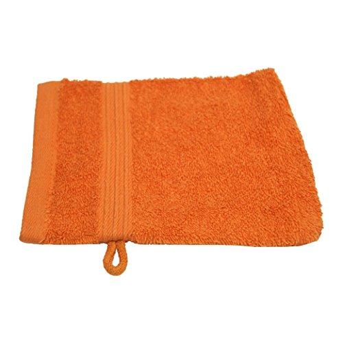 Julie Julsen Gants de toilette sans produits chimiques - 600 g/m² - Orange - 15 x 21 cm - 100 % coton - Certifié Öko-Tex Std 100 - Doux et absorbant - Lavable en machine