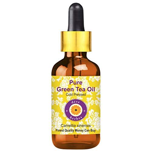 Deve Herbes Pure Green Tea Oil (Camellia sinensis) with Glass Dropper 100% Natural Therapeutic Grade Cold Pressed 50ml (1.69 oz)