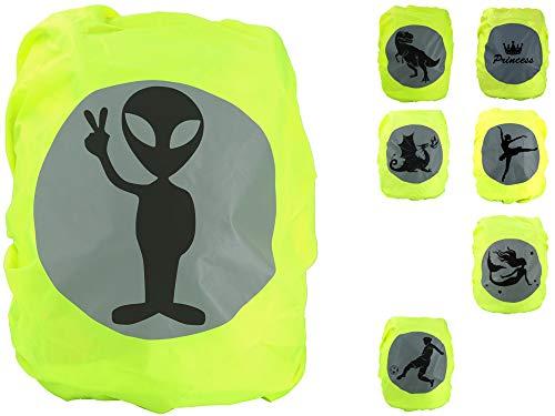EANAGO Premium schooltas/rugzak regenhoes/regenhoes, zonder naden, 100% waterdicht, met veiligheidsreflectieafbeelding Alien