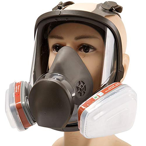 Filtro de protección,Reutilizable,Gas Cara Completa Pintura En Aerosol Equipo Químico De Protección Laboral Equipo De Bombero (Gris)