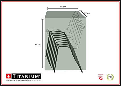 Chalet-Jardin Housse Pile DE CHAISES 94 Protection INDECHIRABLE Titanium CHAISES-90g/m² -NOIR-94x94x69cm, Noir