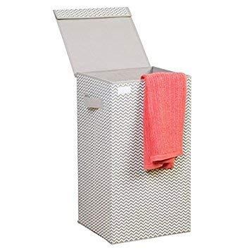 mDesign Wasmand met deksel, opvouwbare wasmand met deksel en handgrepen, voor kinderkamer, badkamer of slaapkamer, van ademend polypropyleen, 35,5 x 35,5 x 64 cm Einzel taupe/natuurlijk wit