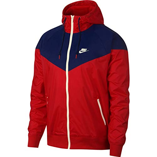 Nike Mens Windrunner Hooded Track Jacket University Red/Blue Void/Sail AR2191-657 Size Large