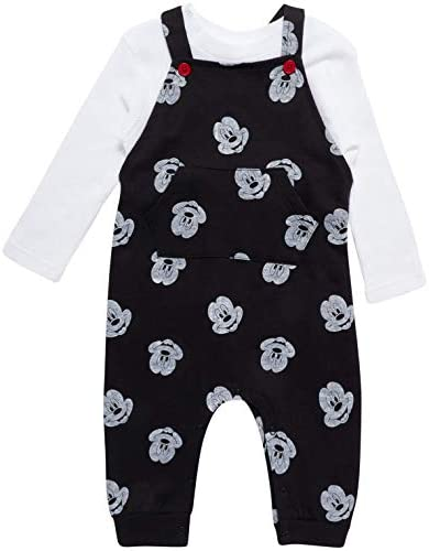 Disney Baby Boys Mickey Mouse 2PC Overall Set Fleece Romper Long Sleeve T Shirt Newborn Infant product image