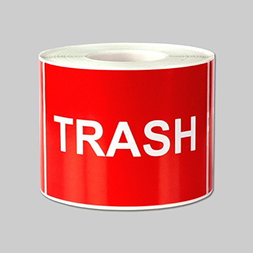 """Trash Disposal Labels Self Adhesive Stickers (Red White / 3"""" x 2"""") - 300 Labels per Package"""