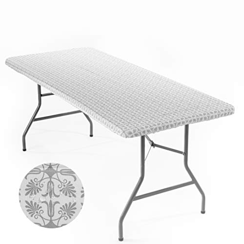 Signature Home Fitted Tablecloth Rectangle Silver and White Table Cover  72 x 32 in Table Cloth  Fitted Table Covers for 6 Foot Tables Washable Picnic Table Cover Elastic Indoor Outdoor Tablecloth