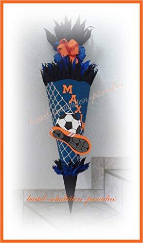 Schultüten Bastelset Fußball 2 blau-schwarz-orange