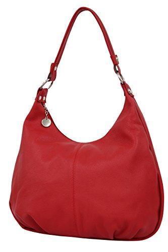 AMBRA Moda Damen Handtasche Echtleder Beutel Schultertasche Hobo Bags Shopper DIN-A4 GL001 (Rot)