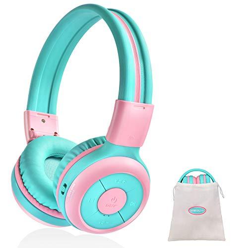 SIMOLIO Cuffie Bluetooth per Bambini, Cuffia per Bambini Wireless Senza Fili con 75dB, 85dB, 94dB limitatore di volume, Cuffie per ragazze con Jack da condividere, Cuffie con borsa portatile – JH-714A