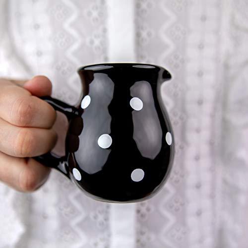 City to Cottage® - Keramik Milchkännchen | Schwarz und Weiß | Polka Dots | Handgemacht | Keramik Geschirr Kännchen | 150 ml