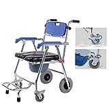 AFDK Sillas cómodas Silla cómoda de cuatro ruedas, cuarto de baño con silla de ruedas Silla de transporte/baño Taburete de baño, freno a las 4 ruedas, inodoro móvil plegable para personas mayores d