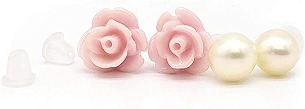 AZCOO - Handmade in USA ROSE and FRESH WATER PEARL Silicone Plastic Stud Earring