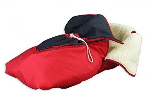 Erst-Holz 24.30-rot Fußsack mit Lammwolle Winterfußsack Schlittensack für Schlitten oder Kinderwagen