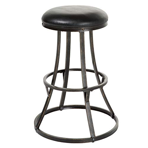 Leggett & Platt Dover Backless Swivel Seat Bar Stool with Blackened Bronze Finished Metal Frame and Black Faux Leather Upholstery, 30-Inch Seat Height