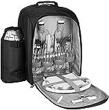 BRUBAKER Mochila de Picnic para 4 Personas Negro/Plata 27 × 38.5 X 21 Cm con Compartimiento de Refrigeración y Portabotellas Aislado