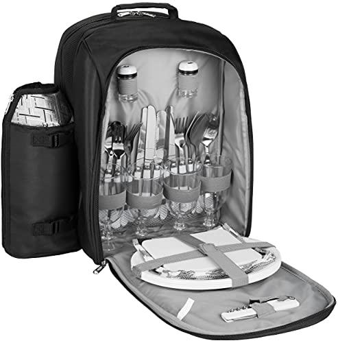 BRUBAKER Sac à Dos Pique-Nique Sac à Dos réfrigérant pour 4 Personnes Jacquard Noir argenté 27 × 21 × 38,5 cm - avec Porte-Bouteille isolé