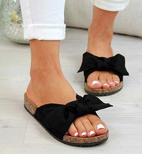 LCCYJ Damen Sandalen mit Fußbett Pantoletten mit Schleife Flache Sommerschuhe Strand Schuhe Offen Slipper Sommer Bequeme Damenschuhe,01,39