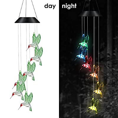 iFCOW Color Changing Solar Powered LED Wind Chime Light Waterproof Hummingbird Solar LED Light Wind Chime for Home Balcony Garden Decoration