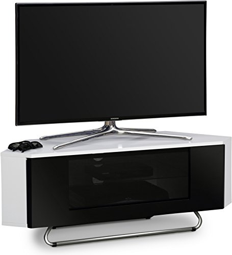 """Centurion Supports Hampshire Corner-Friendly Gloss White with Black Contrast Beam-Thru Remote Friendly Door 26""""-50"""" Flat Screen TV Cabinet"""