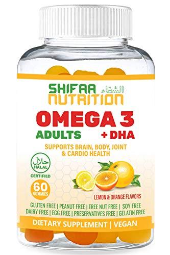 Vegan DHA & Omega 3 Gummy Vitamins for Women & Men, No Omega 3 Fish Oil Burps, Plant Based - Chia Oil & Algae, Brain Supplement, Immune Support Gummies, Omega 3 6 9 Halal Vitamins 20 Servings