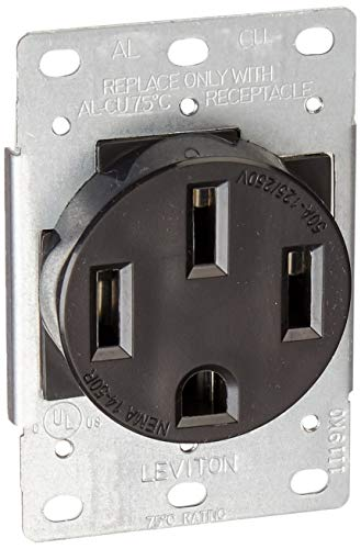 Leviton 279-S00 50 Amp, 125/250 V, Nema 14-50R, 3P, 4 W, receptáculo de montaje empotrado, hoja recta, grado industrial, tierra, cable lateral, correa de acero, color negro