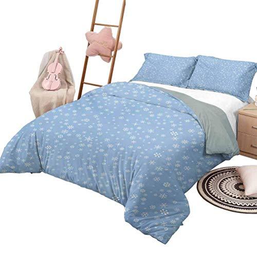 Ropa de cama de invierno Lindos copos de nieve pequeños que caen del cielo Nochevieja de diciembre Iconos de ventisca de lujo Juego de funda nórdica Shaggy Azul Blanco con 2 fundas de almohada, tamaño