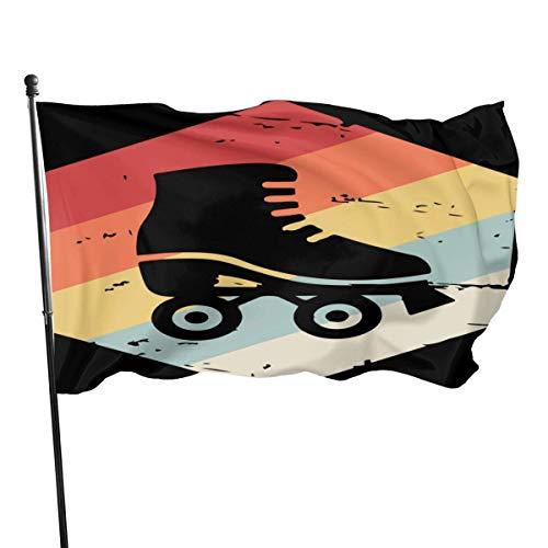 Lsjuee Home Decor Retro 70er Jahre Rollschuh Gartenflaggen für Party mit Hellen Farbe One Size