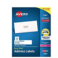 Avery 469106 簡単ピールレーザーアドレスラベル 1インチ x 4インチ ホワイト 20枚