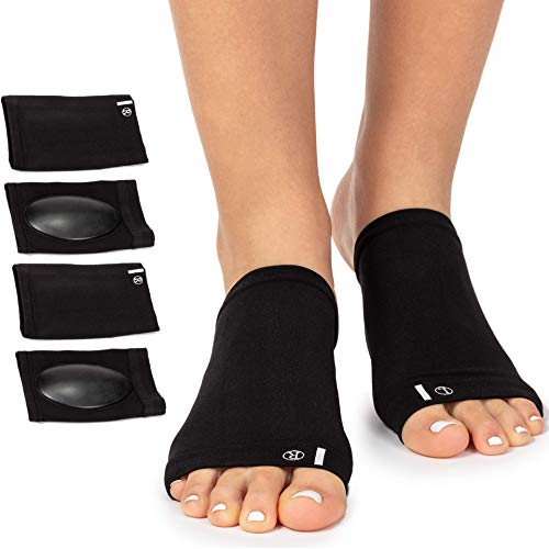 Arch Support Brace for Flat Feet with Gel Pad Inside - 2 Pairs - Plantar Fasciitis Support Brace - Compression Arch Sleeves for Women, Men - Foot Pain Relief for Planter Fasciitis, Arch Pain - Black