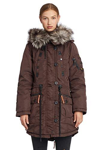 khujo Dhalia Damen Parka Jacke Winterjacke Coat Chaqueta Abrig Wintermantel Mantel (XL, Coffee-Bean)