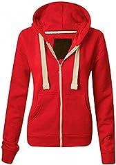 Sudadera con capucha y cremallera de manga larga para mujer, bolsillos delanteros, suave, elástica, cómoda, lisa, tallas S a XXXXXXXL Hotpink Neon XXXXX-Large