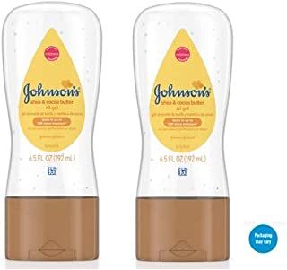 Johnsons Baby Oil Gel with Shea & Cocoa Butter, 6.5 fl. oz (Pack of 2)