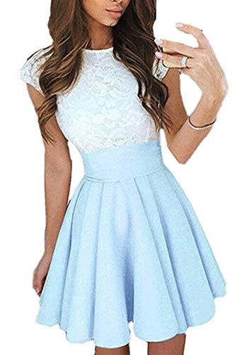 Ajpguot Verano Mujer Cuello Redondo Manga Corta Corto Vestido de Encaje Alinear Vestido de Drapeado Elegante Mini Vestidos de Fiesta Cóctel (S, Cielo Azul)
