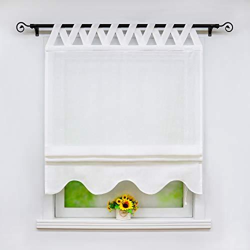 Joyswahl Raffrollo in Leinenoptik mit Wellen-Abschluss Halbtransparentes Unifarbiges Raffrollo »Alexa« Schals mit V-Schlaufen Fenster Vorhänge BxH 120x140cm Weiß 1er Pack