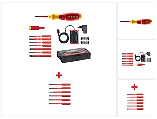 Wiha speedE® elektronischer Schraubendreher Set 2 + L-Boxx 13 tlg. + 2x 1,5 Ah Akku + Ladegerät + Bits/TorqueAdapter (41912) + Bit Set slimBit Torx 6 tlg. (42210)