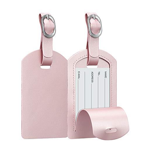 [2-pack] Fintie bagagelabels, synthetisch leer naam-ID-labels met privacybescherming aan de achterkant voor reistaskoffer, Rose Goud
