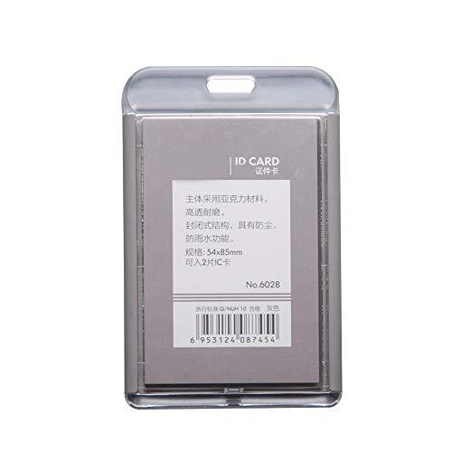 Tarjetero con correa para el cuello para tarjeta identificativa (6 unidades, cara abierta), color Gray Vertical