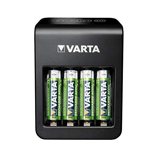 VARTA LCD Plug Charger+ para AA/AA/9V y Dispositivos USB, Carga de una Sola Ranura, detección de células defectuosas, Incluye: 4X VARTA Recharge ACCU Power AA 2100mAh
