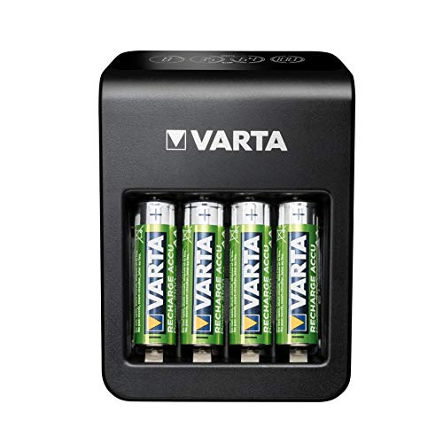 Varta Plug Charger+, Ladegerät für Akkus in AA/AAA/9V und USB Geräte, Einzelschachtladung, Erkennung von defekten Zellen, inkl. 4x AA 2100mAh Akku