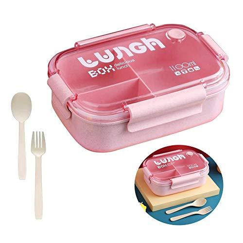 Hobein Bento Box, Lunchbox Picknick, Lunchbox Kinder,Brotbox Kinder,Lunchbox mit Fächern,Brotdose Kinder,Lunchbox Box für Kinder,Auslaufsichere Brotzeitbox Vesperdose Mikrowelle Heizung (Rosa2)