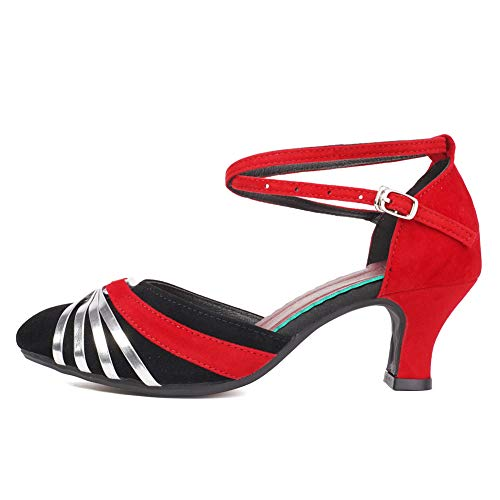 SWDZM Mujer Zapatos de Baile,estándar de Zapatos de Baile Latino Ballroom,Tacón-1.97''/2.76'',Modelo-515