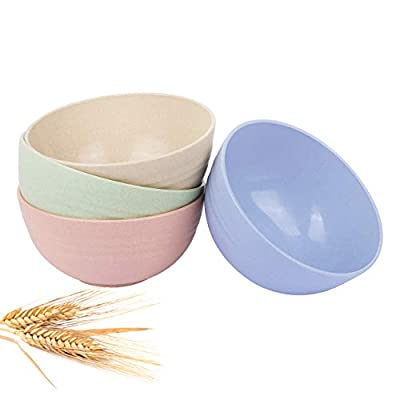 Storesum Cereal Bowls-26OZ Unbreakable Wheat Straw Bowls for kitchen-Eco Friendly Durable Pack of 4 Lightweight Serving Bowls Set-Microwave and Dishwasher Safe-for Rice,Fruit,Soup Bowls