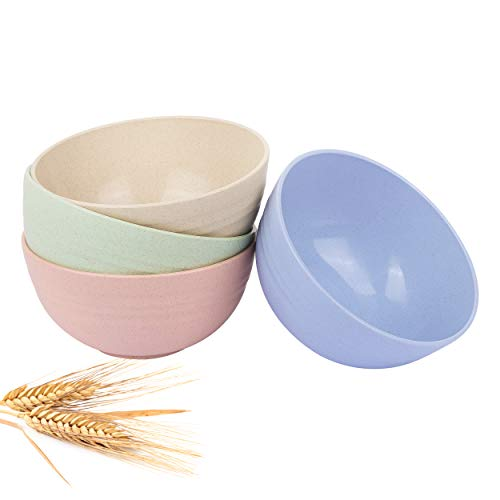 Cereal Bowls - 26 OZ Unbreakable Wheat straw Bowls For Kitchen-Eco Friendly Durable Pack Of 4...