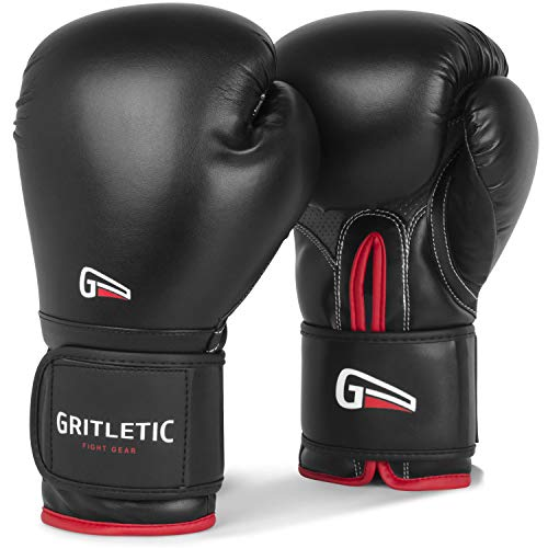 Gritletic PowerGrip Boxing Bag Training Gloves for Men and Women-Synthetic Leather Pro Trainer Gel Fight Gloves for Bagwork, Sparring, Mixed...