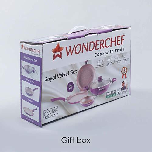 Wonderchef Royal Velvet Induction Base Aluminium Cookware Set, 4-Pieces, Purple
