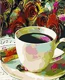 JXFFF 40x50cm No Frame Tamaño Personalizado y Foto Pintar por Numeros para Adultos Pintura Pintura al óleo Pintura de café y caligrafía decoración del hogar