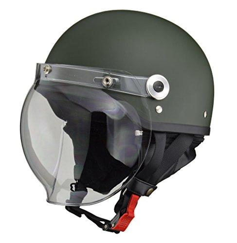 LEAD, Jet CROSS Bike Helmet, CR - 760, Bubble Shield, Half Helmet, Free Size 22.4 – 23.6 inches (57 – 60 cm), model: CR-760, matte green