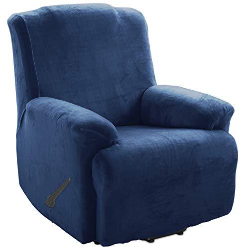 TIANSHU Funda de Sillón Relax Terciopelo,Cubierta Suave del sofá de la Felpa del Terciopelo para,Cubiertas Elegantes de los Muebles de Lujo(Relax,Azul Oscuro)