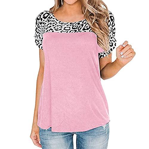 Camisetas con Estampado de Leopardo para Mujer Blusa Anudada Moda Tops de Manga Corta Hombros Descubiertos Tops con Estampado Redondo Camisa Casual básica con Costura Camiseta Suelta de Manga Corta